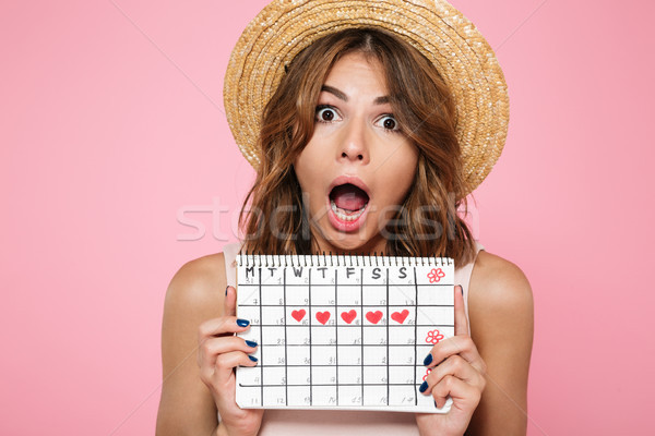 Portrait of a crazy young girl in summer hat Stock photo © deandrobot
