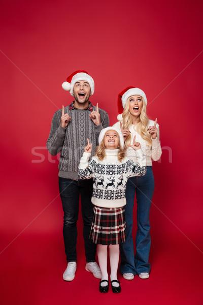 Foto stock: Retrato · animado · jovem · família · criança