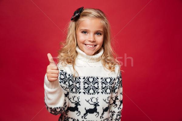 Portret glimlachend meisje christmas trui naar Stockfoto © deandrobot