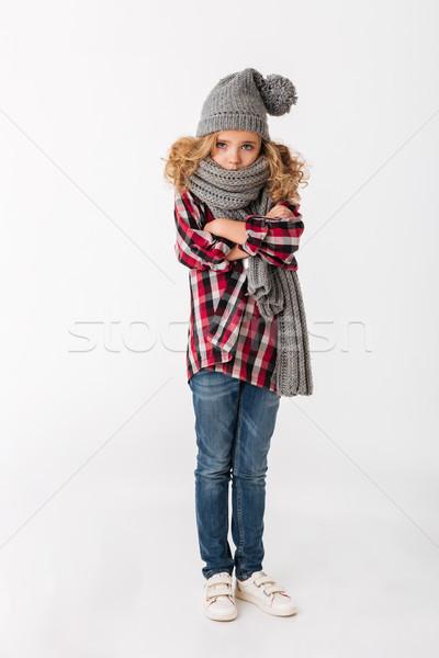 Tam uzunlukta portre dondurulmuş küçük kız kış şapka Stok fotoğraf © deandrobot
