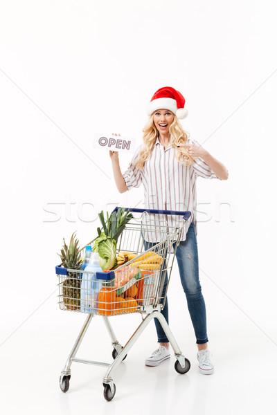 Tam uzunlukta portre neşeli kadın Noel şapka Stok fotoğraf © deandrobot