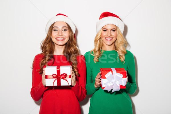 Portrait deux souriant filles Noël Photo stock © deandrobot