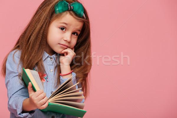 Belo menina criança longo cabelo castanho Foto stock © deandrobot