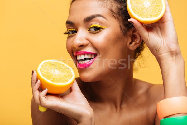 Portré mosolyog nő színes smink kóstolás Stock fotó © deandrobot