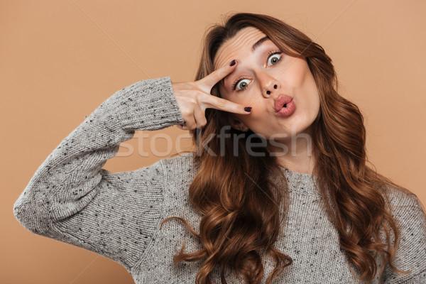 Portre komik esmer kız gri örgü Stok fotoğraf © deandrobot