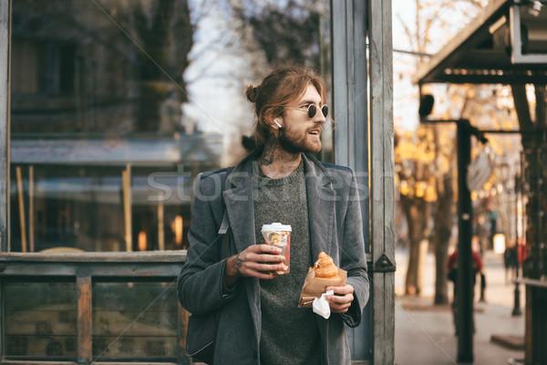портрет бородатый человека пальто Сток-фото © deandrobot