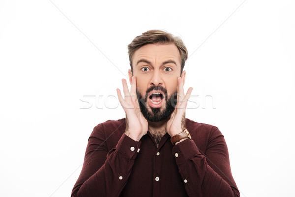 портрет случайный молодые бородатый человека Сток-фото © deandrobot