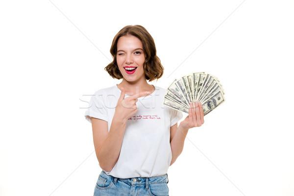 Portret meisje bos geld Stockfoto © deandrobot