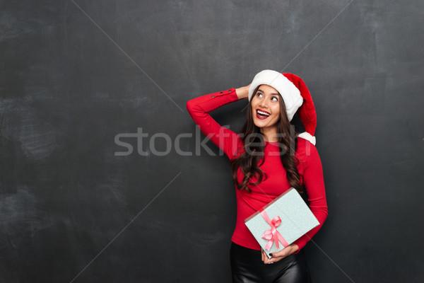 брюнетка женщину красный блузка Рождества Сток-фото © deandrobot