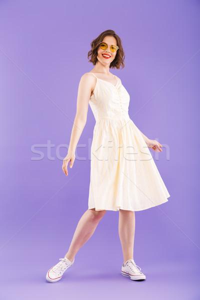Stock fotó: Portré · derűs · fiatal · nő · teljes · alakos · nyár · ruházat