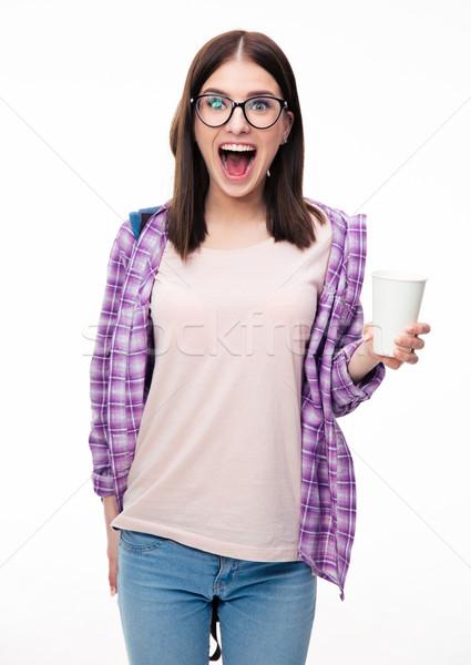 Maravilhado mulher jovem copo branco olhando Foto stock © deandrobot