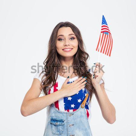 Feliz muchacha adolescente EUA bandera Foto stock © deandrobot