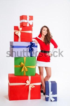 ストックフォト: セクシー · 女性 · 脚 · サンタクロース · 布 · 現在