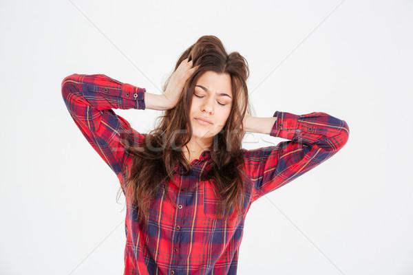 Triste deprimido mulher jovem mãos cabeça dor de cabeça Foto stock © deandrobot
