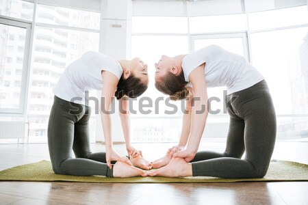 Two relaxed women doing flexibility workout in yoga studio Stock photo © deandrobot