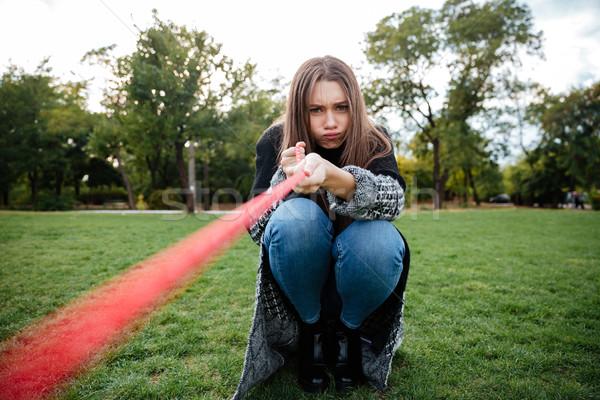 Kobieta posiedzenia psa trawnik funny twarzy Zdjęcia stock © deandrobot