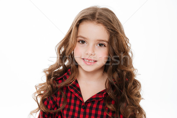 Portrait of beautiful curly little girl in plaid shirt Stock photo © deandrobot