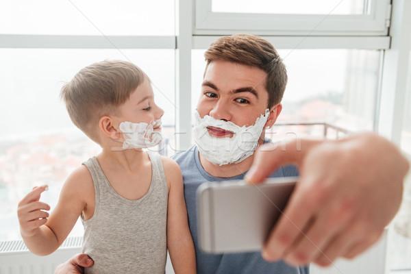 Père en fils mousse image barbu Photo stock © deandrobot