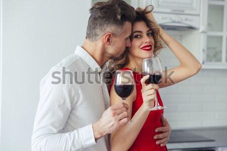 Szerető pár áll konyha fókusz alkohol Stock fotó © deandrobot
