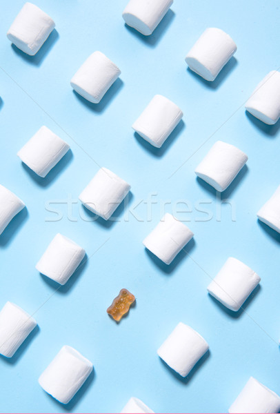 Kék asztal felső kilátás kép fehér Stock fotó © deandrobot