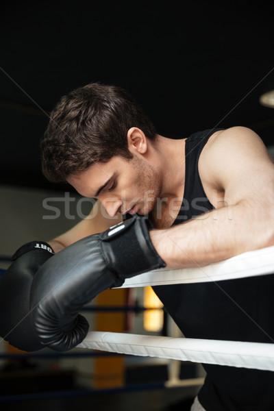 Boxer formazione boxing anello guardando immagine Foto d'archivio © deandrobot