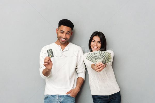 Kadın adam kredi kartı nakit Stok fotoğraf © deandrobot