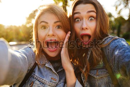 Portrait of two cheerful young girls making funny faces Stock photo © deandrobot