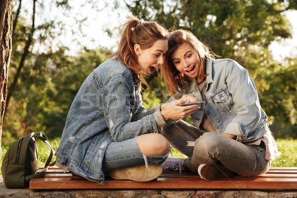 Two amazed female friends sitting on wooden bench with crossed l Stock photo © deandrobot