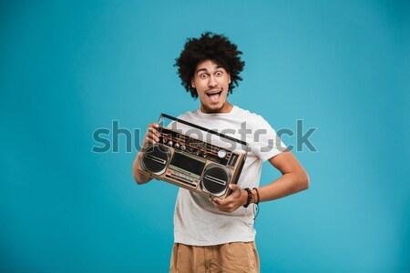 портрет смешные радостный девушки джинсовой куртка Сток-фото © deandrobot