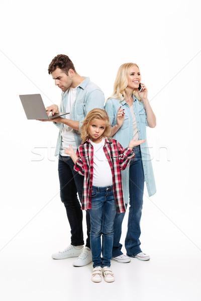 портрет семьи говорить мобильного телефона занят Сток-фото © deandrobot