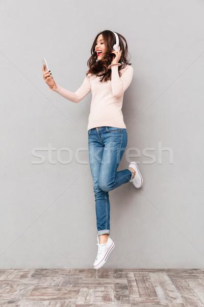 удивительный женщины музыку белый Сток-фото © deandrobot