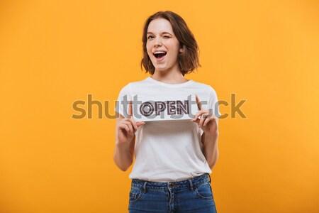 Genç güzel bir kadın neden jest Stok fotoğraf © deandrobot