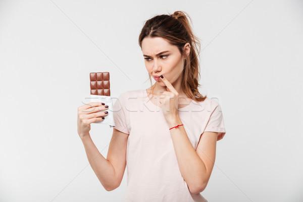 Portre güzel kız çikolata Stok fotoğraf © deandrobot