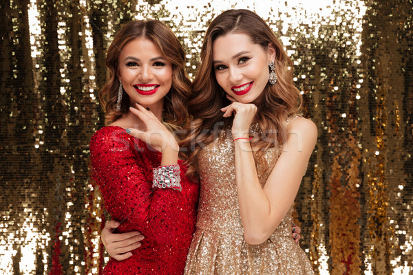 Portrait of two lovely pretty women in sparkly dresses Stock photo © deandrobot