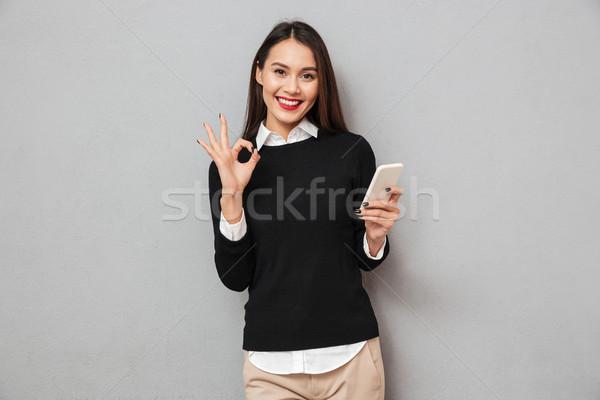 Stockfoto: Tevreden · asian · vrouw · business · kleding