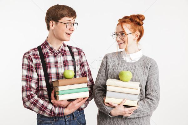 笑みを浮かべて カップル 学校 スタック 図書 ストックフォト © deandrobot