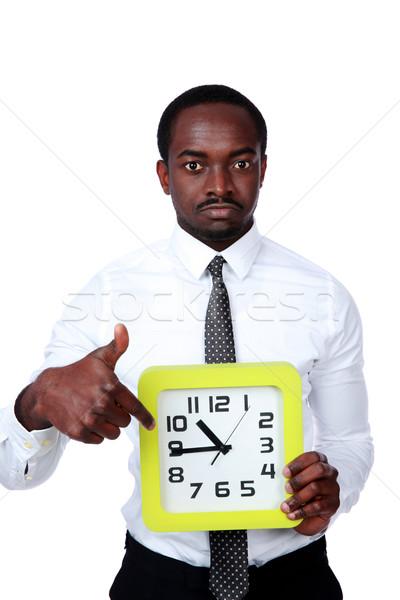 Vakit nakittir yakışıklı Afrika adam saat Stok fotoğraf © deandrobot