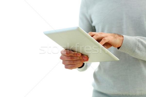 Stockfoto: Afbeelding · mannelijke · hand · aanraken · display