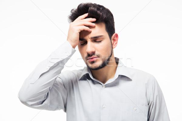 Casual homem dor de cabeça isolado branco fundo Foto stock © deandrobot