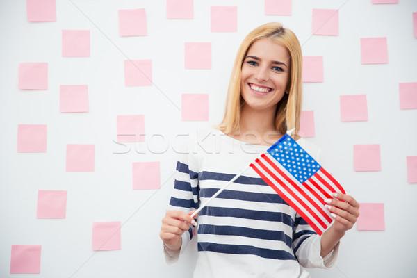 Stok fotoğraf: Genç · kadın · ABD · bayrak · kadın