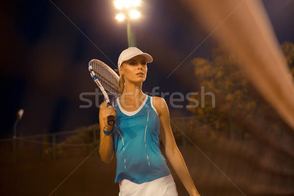 Nő teniszütő kint portré sportok szolgáltatás Stock fotó © deandrobot