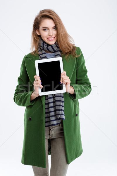 женщину экране портрет улыбающаяся женщина Сток-фото © deandrobot