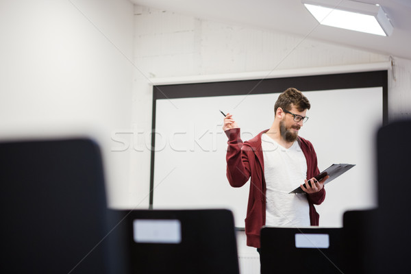 Knap spreker planning toespraak jonge herhalen Stockfoto © deandrobot