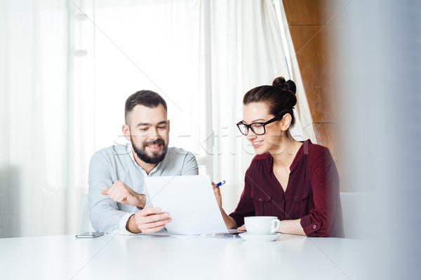 Kettő boldog üzletemberek megbeszél új projekt Stock fotó © deandrobot