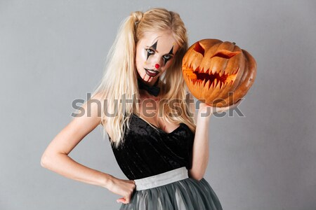 Deux souriant femmes vampire maquillage ballons Photo stock © deandrobot