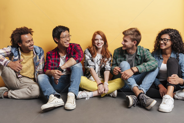 Multiethnic group of cheerful young friends talking and laughing Stock photo © deandrobot