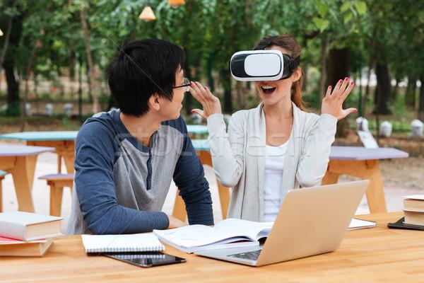 пару виртуальный реальность очки таблице Сток-фото © deandrobot