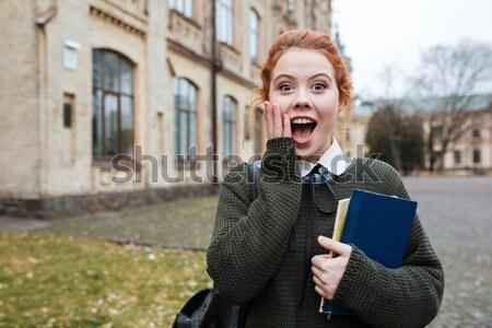 портрет подростку рюкзак Постоянный кампус Cute Сток-фото © deandrobot