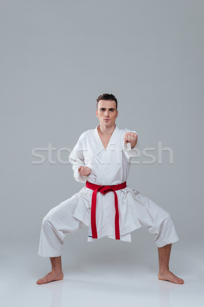 Sportsman dressed in kimono practice in karate Stock photo © deandrobot