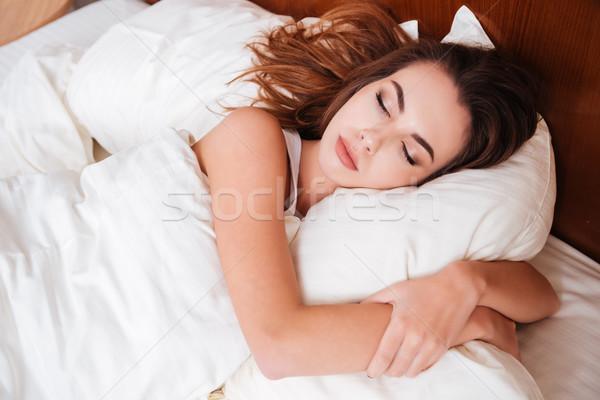 Photo stock: Calme · jeunes · jolie · femme · dormir · oreiller